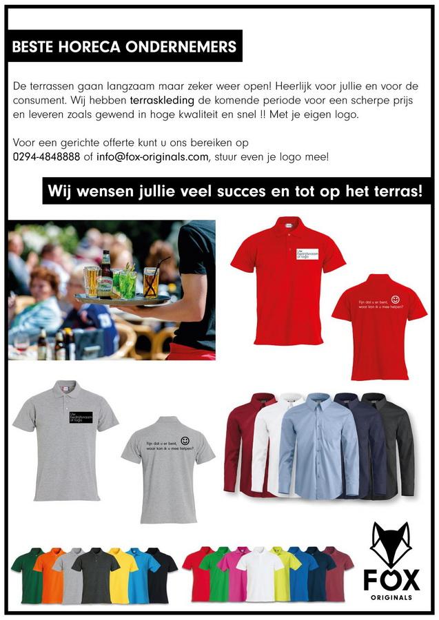 """Het is bijna zover voor onze horeca ondernemers, de zon schijnt en de horeca mag vanaf 1 juni met de nodige voorzorgsmaatregelen weer open. Door alle drukte bijna vergeten? De aankleding van je team op het terras. Bij ons mooie terraskleding verkrijgbaar T-shirts, poloshirts, sloven, schorten, overhemden te voorzien van je eigen logo. """"Work as a team, dress like a team"""". Neem vrijblijvend contact op!"""
